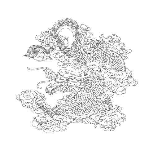 中国吉祥龙图系列,雕刻龙图案