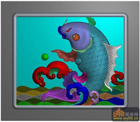 鲤鱼 海 中下角-雕刻图案