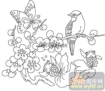 100个中国传统吉祥图-白描图-梅花-b-049-梅花吉祥图案