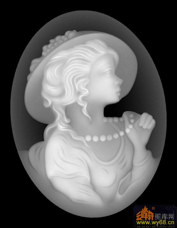 人物 女 头像-欧式洋花浮雕灰度图