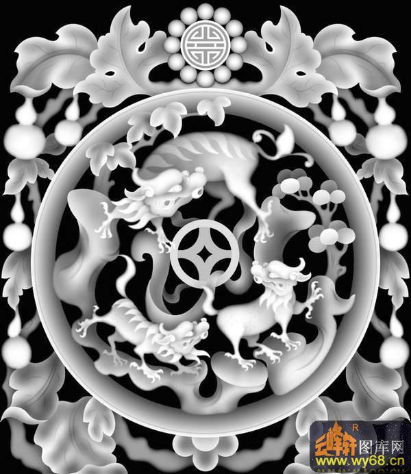 龙圆 花纹-石雕灰度图