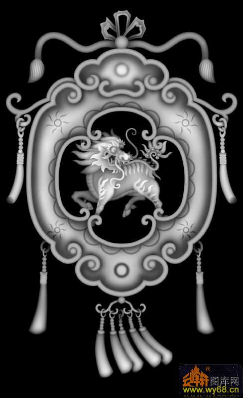 麒麟 花纹-灰度图库素材