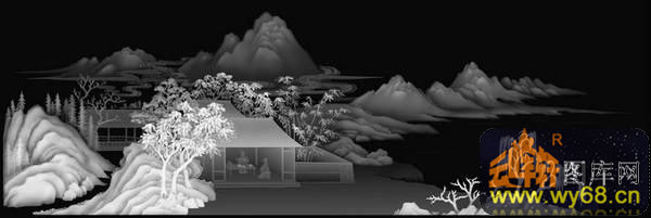 山水 房屋 树-灰度雕刻图