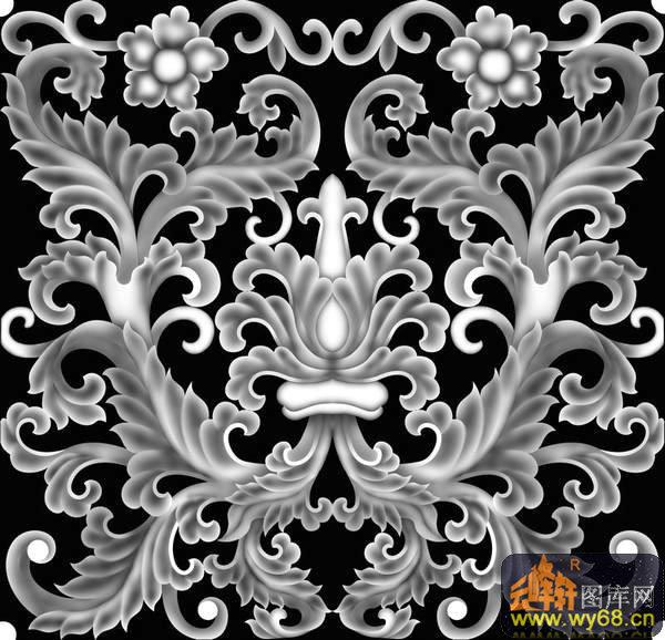 花纹 花钩-石雕灰度图