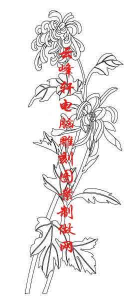 简单水墨画竹子-梅兰竹菊国画白描矢量雕刻图044