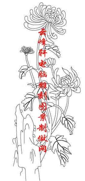 素描竹子的画法铅笔画-梅兰竹菊国画白描矢量雕刻图055