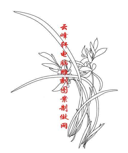 素描竹子的画法铅笔画-梅兰竹菊国画白描矢量雕刻图121