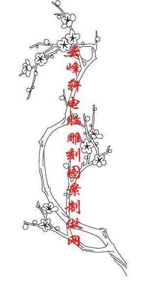 简单菊花水墨画-梅兰竹菊国画白描矢量雕刻图141