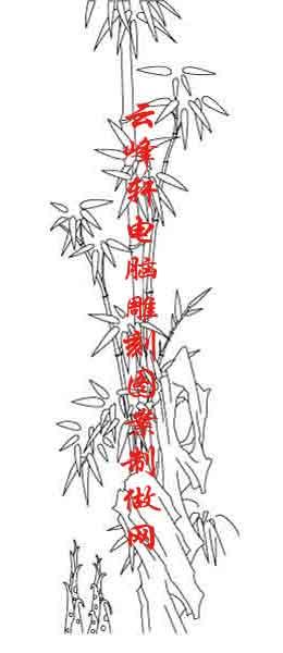 素描竹子的画法铅笔画-梅兰竹菊国画白描矢量雕刻图149