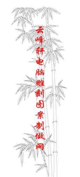 素描竹子的画法铅笔画-梅兰竹菊国画白描矢量雕刻图159